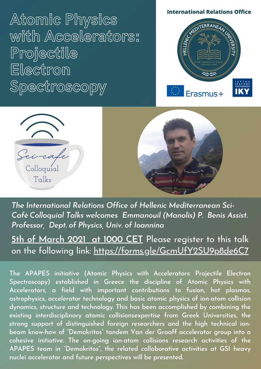 Sci- Cafe Talk from Dr. Manolis Benis (Physics Department, University of Ioannina), Friday 5th of March 2021