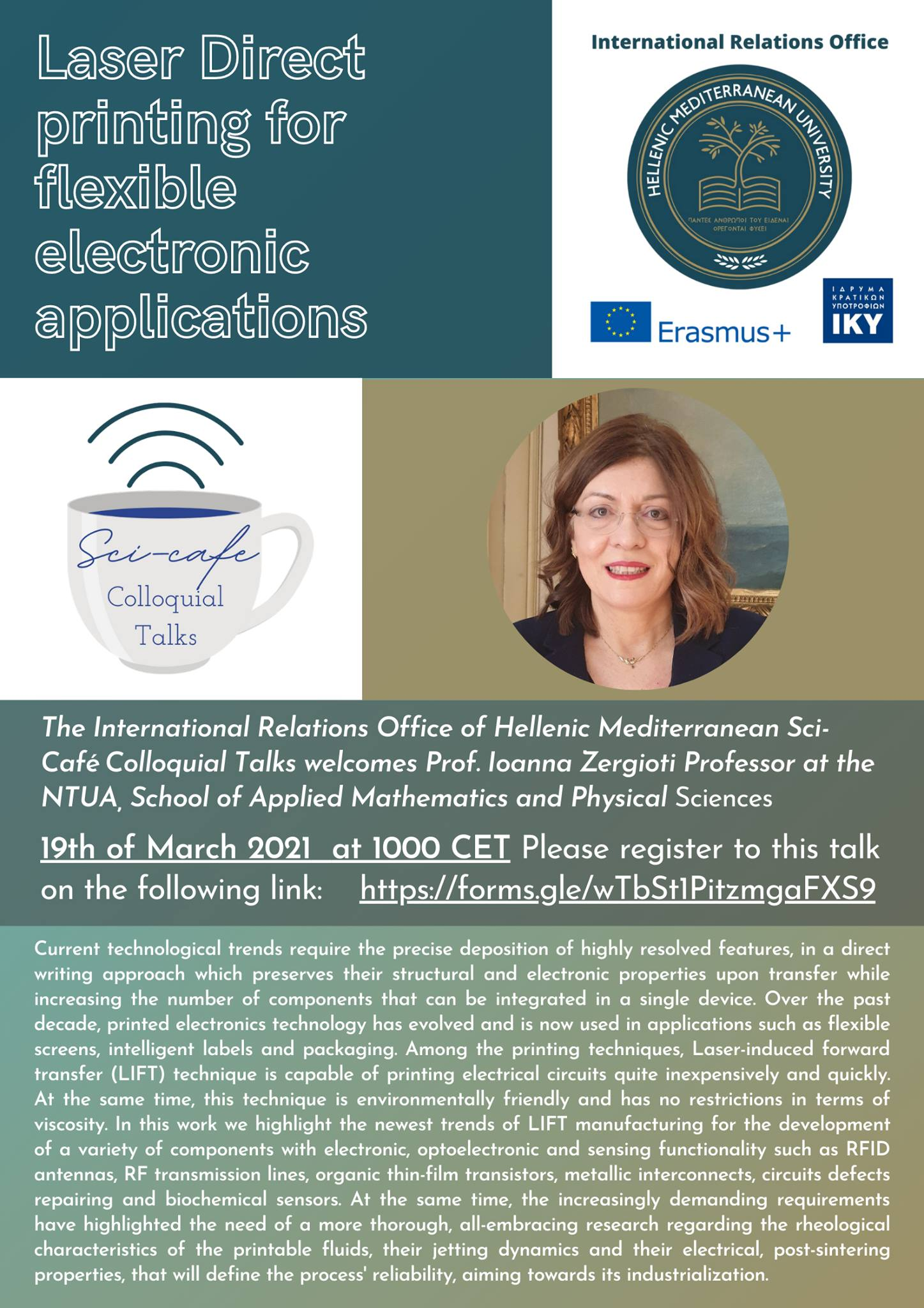 Sci- Cafe Talk from Professor Ioanna Zergiotiin, Friday 19th of March 2021