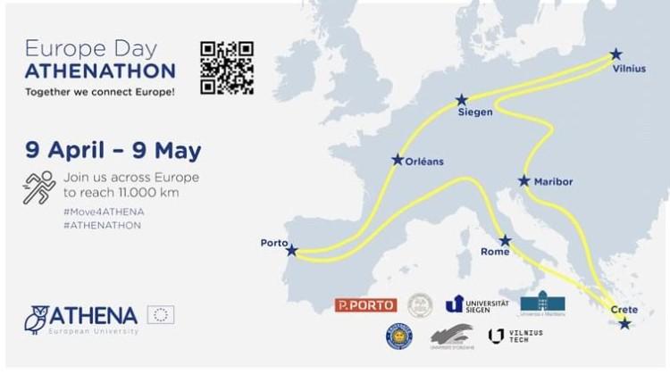 Ημέρα της Ευρώπης «ATHENATHON», ένα αθλητικό γεγονός που προορίζεται να φτάσει σε απόσταση 11000 χιλιομέτρων.