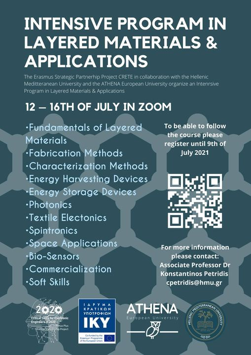 Intensive Program in Layered Materials and Applications 12-16th July 2021